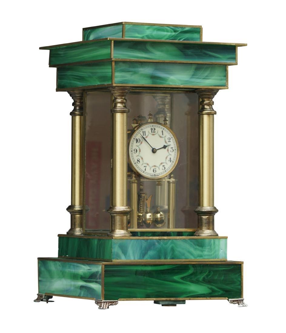 Neoclassical Art Glass Mantel Clock - 2