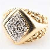 14k YG Ring w White Diamonds sz 775