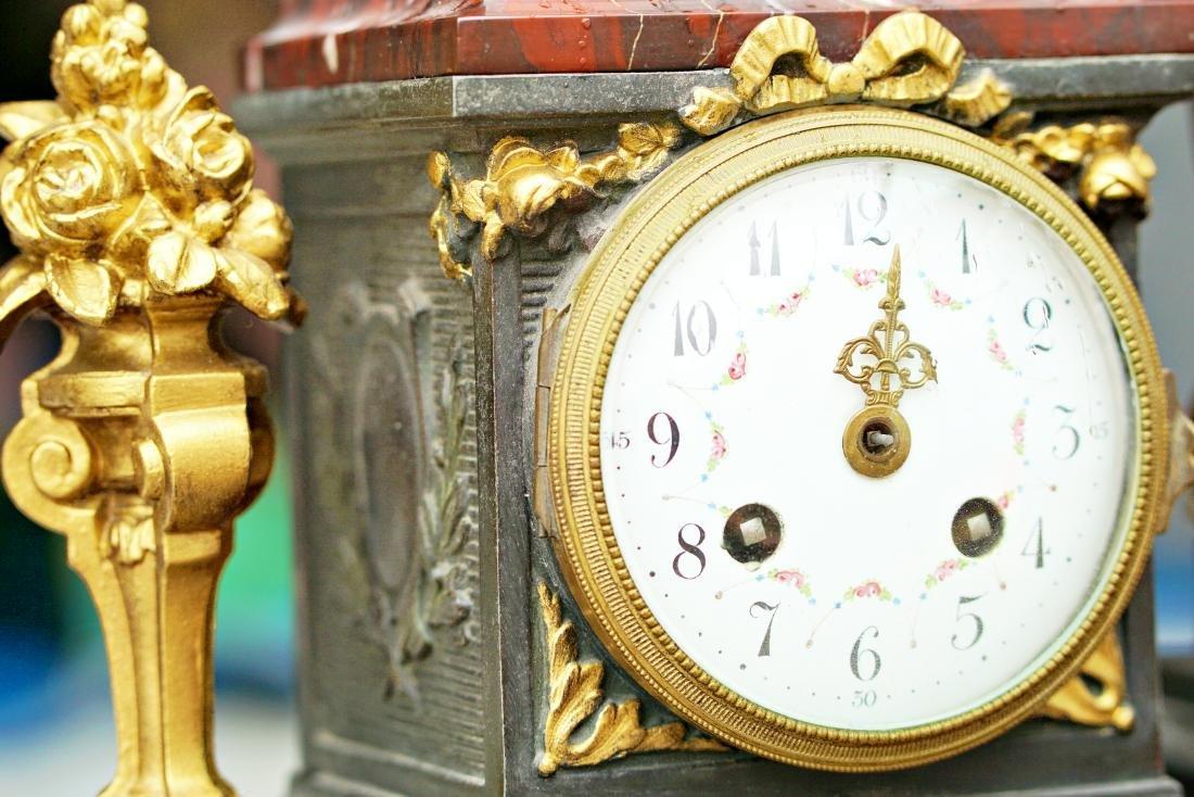 Antique 3 Piece Rouge Marble Putti Clock - 10