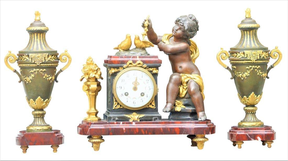 Antique 3 Piece Rouge Marble Putti Clock