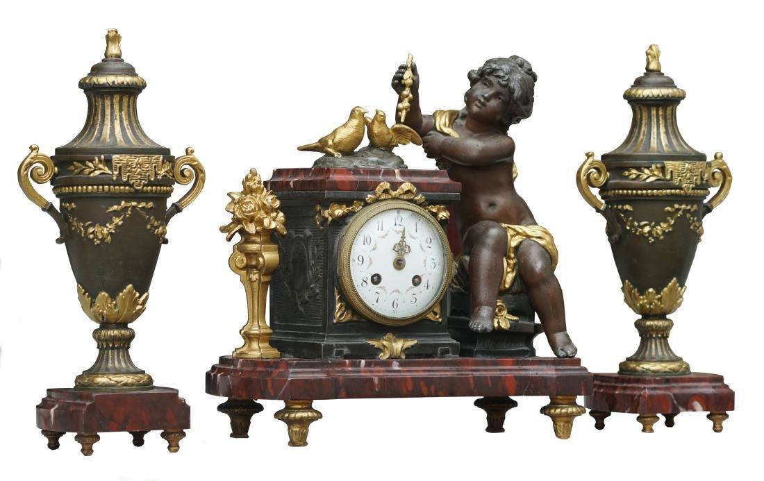 Antique 3 Piece Rouge Marble Putti Clock - 2