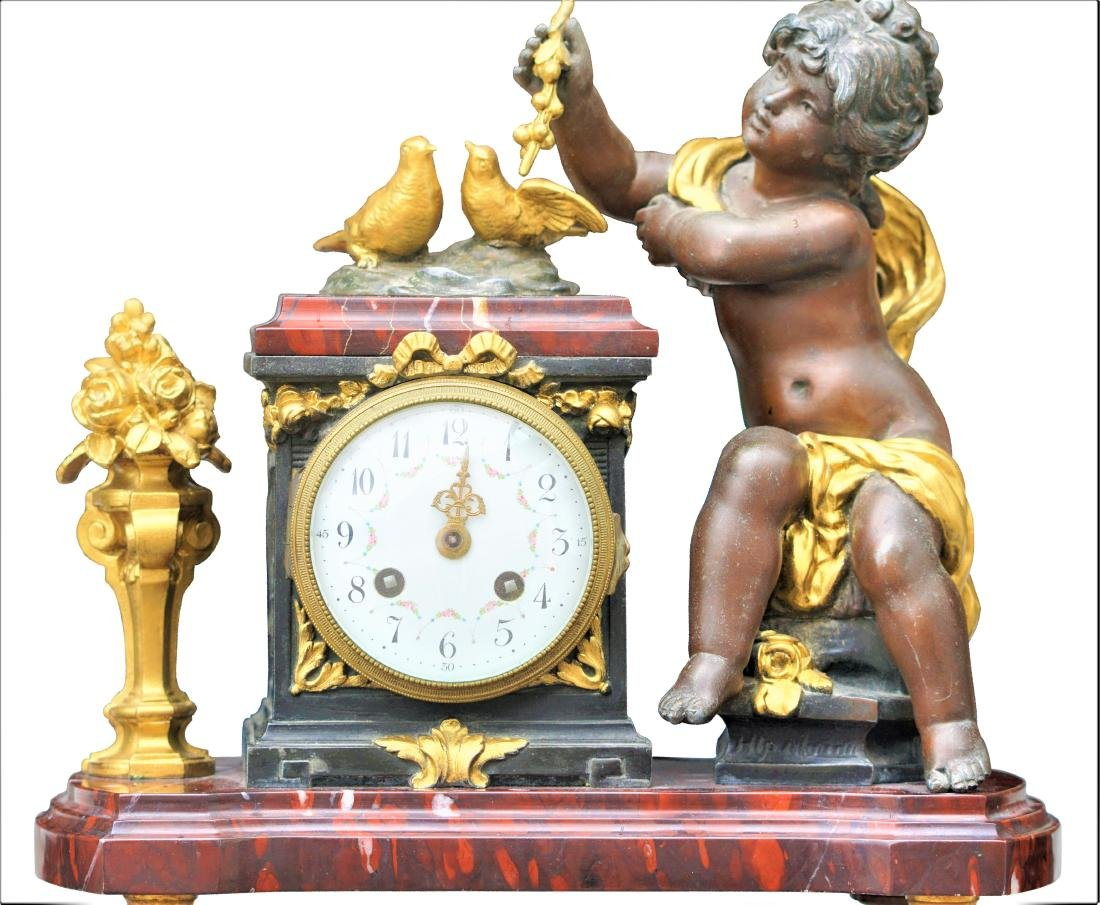 Antique 3 Piece Rouge Marble Putti Clock - 4