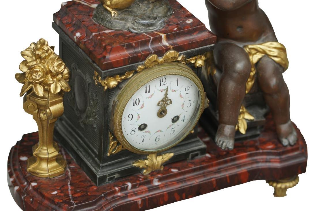 Antique 3 Piece Rouge Marble Putti Clock - 5