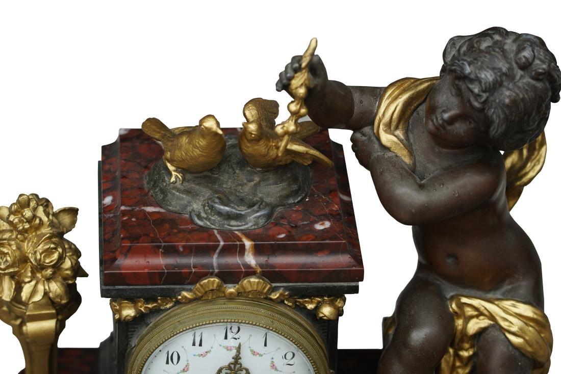 Antique 3 Piece Rouge Marble Putti Clock - 6