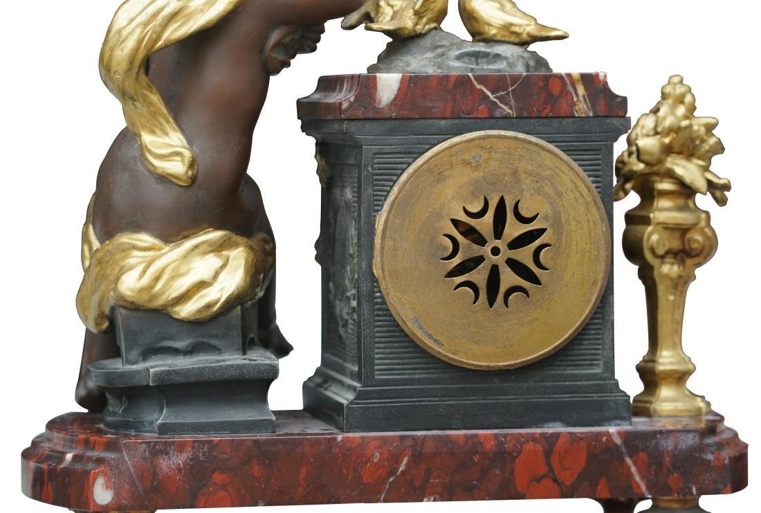 Antique 3 Piece Rouge Marble Putti Clock - 9
