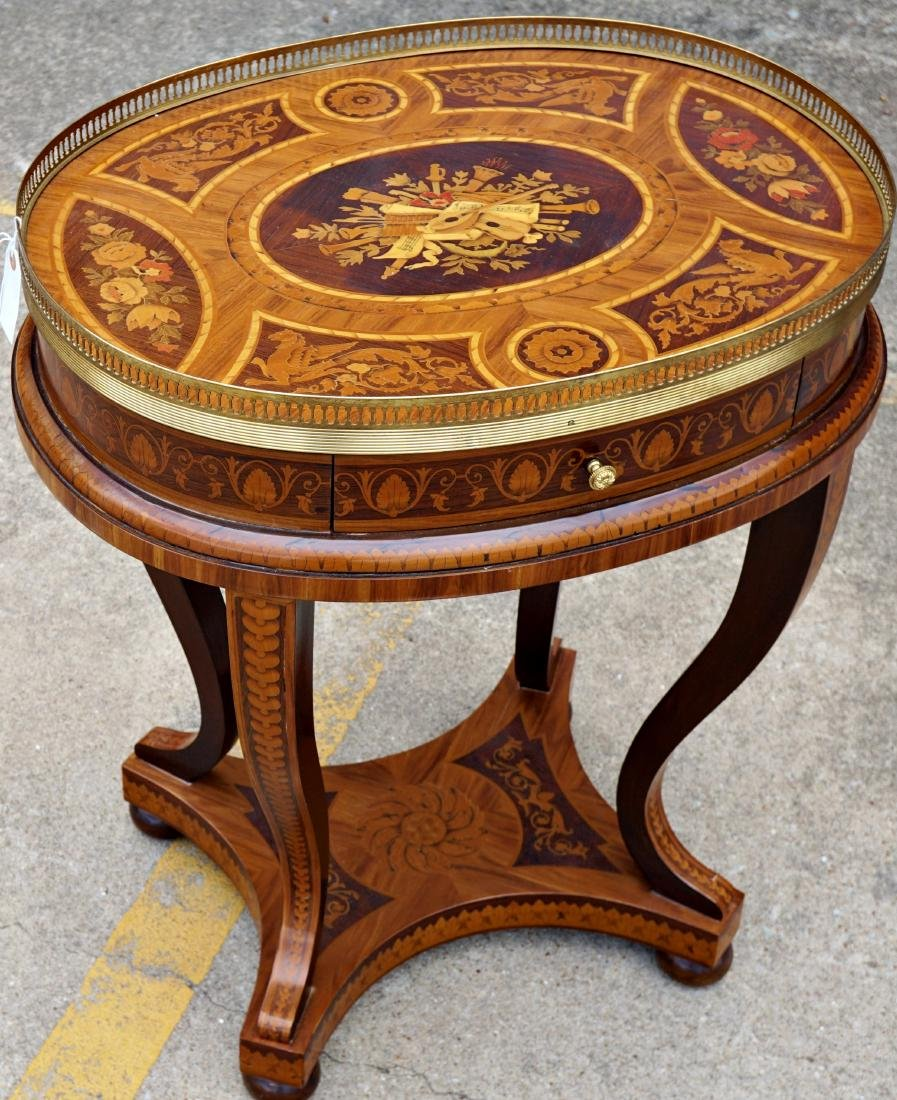 Italian Marquetry Inlaid Oval Musical Table