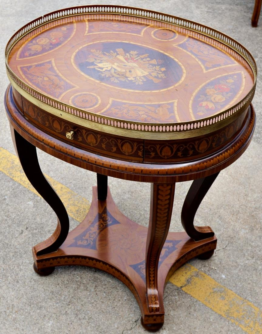 Italian Marquetry Inlaid Oval Musical Table - 2
