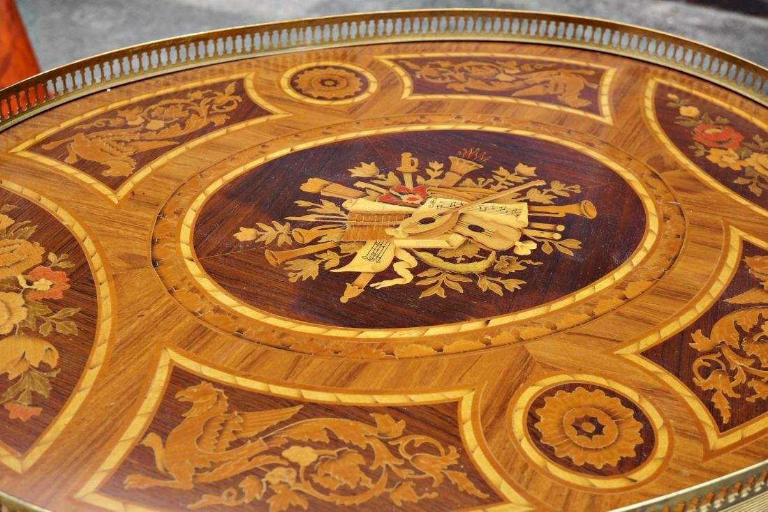 Italian Marquetry Inlaid Oval Musical Table - 3