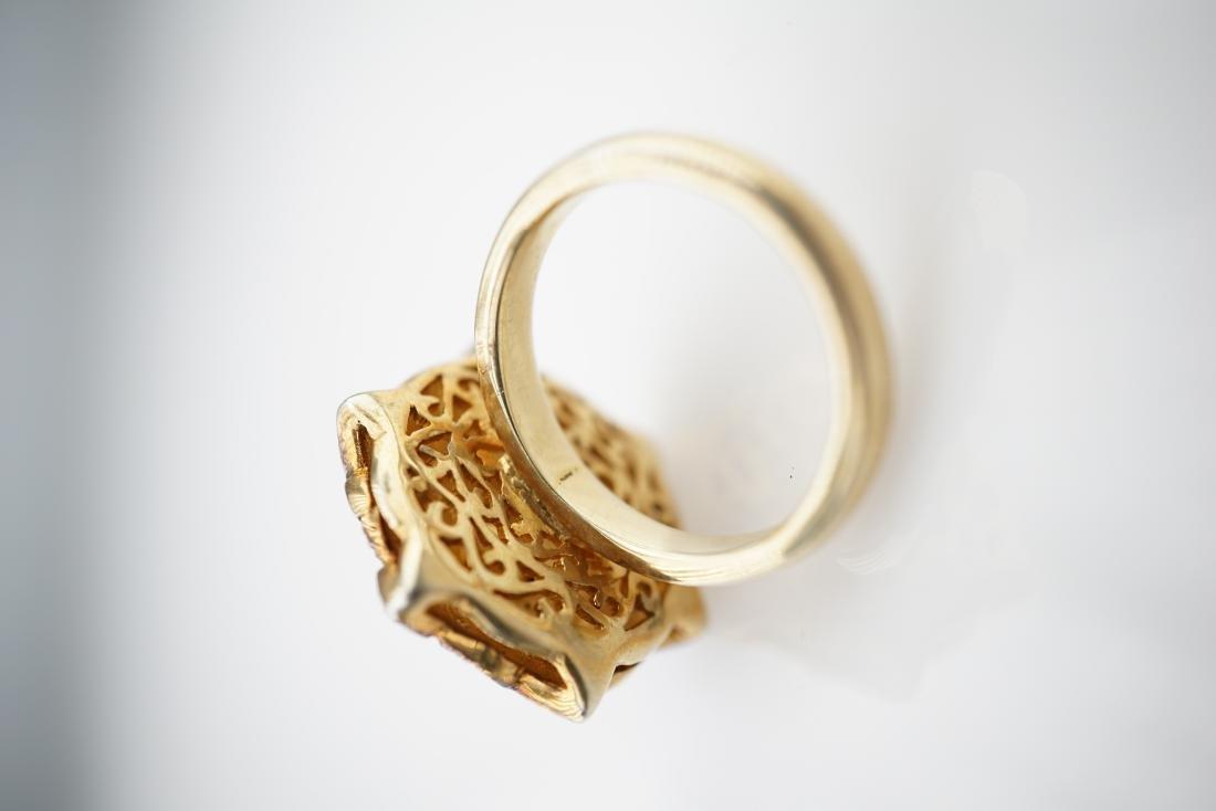 Old World Mine Cut Diamond and Sapphire Ring sz 7.75 - 2