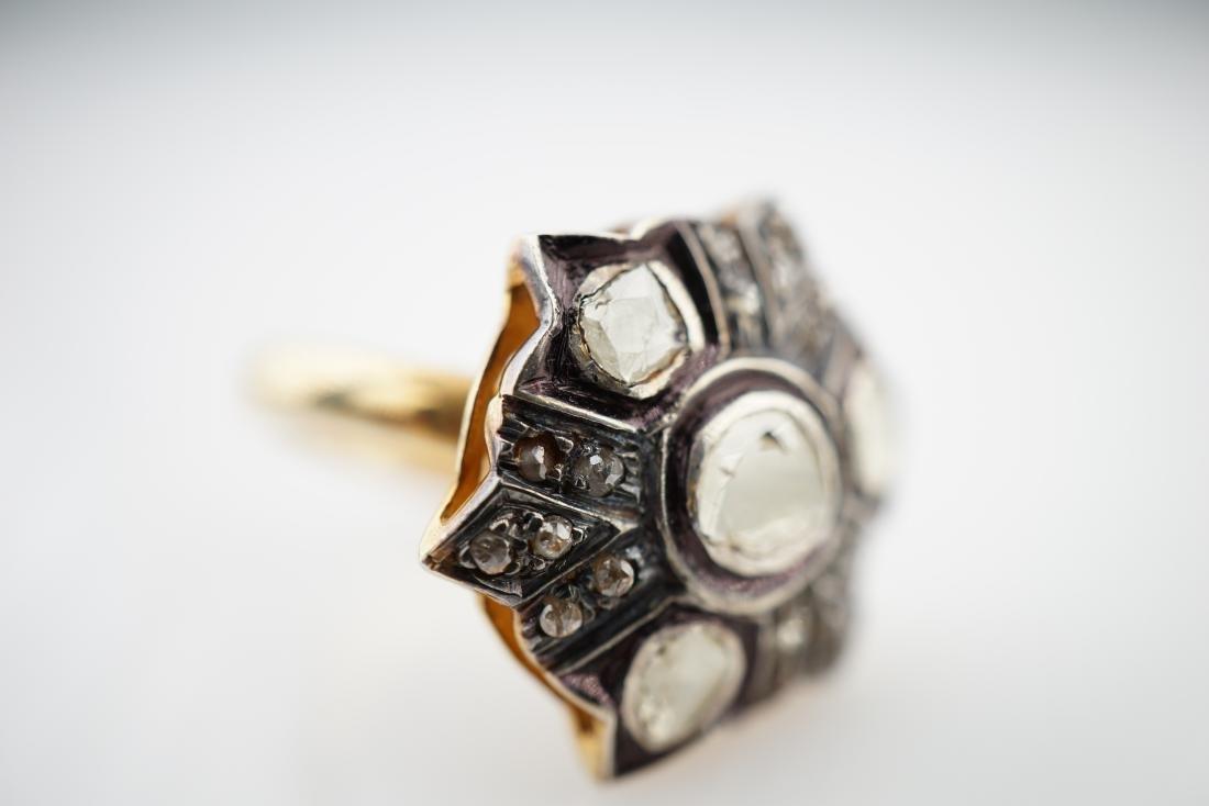 Old World Mine Cut Diamond and Sapphire Ring sz 7.75 - 3