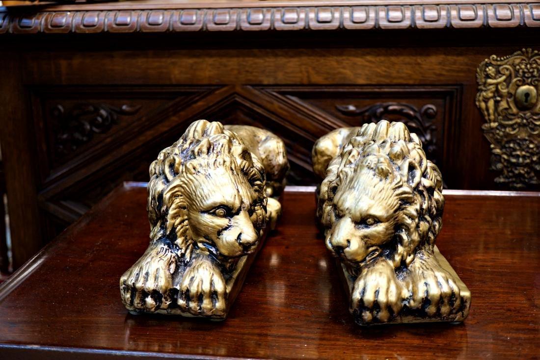 Painted Ceramic Lions