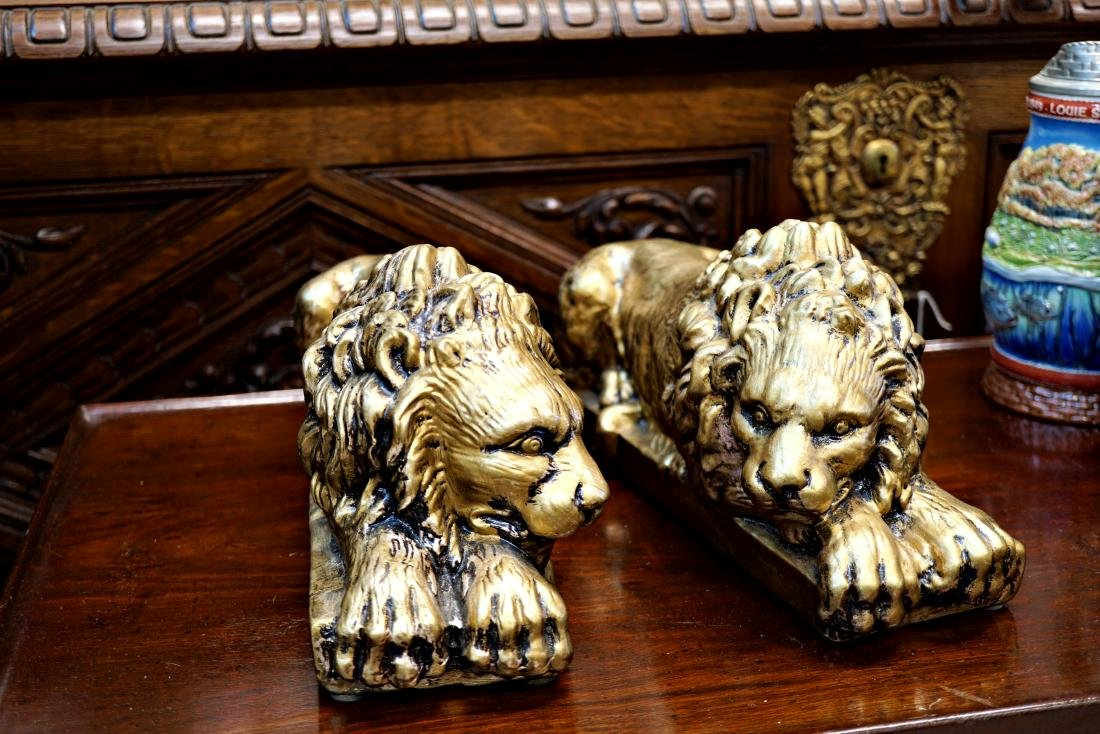Painted Ceramic Lions - 2