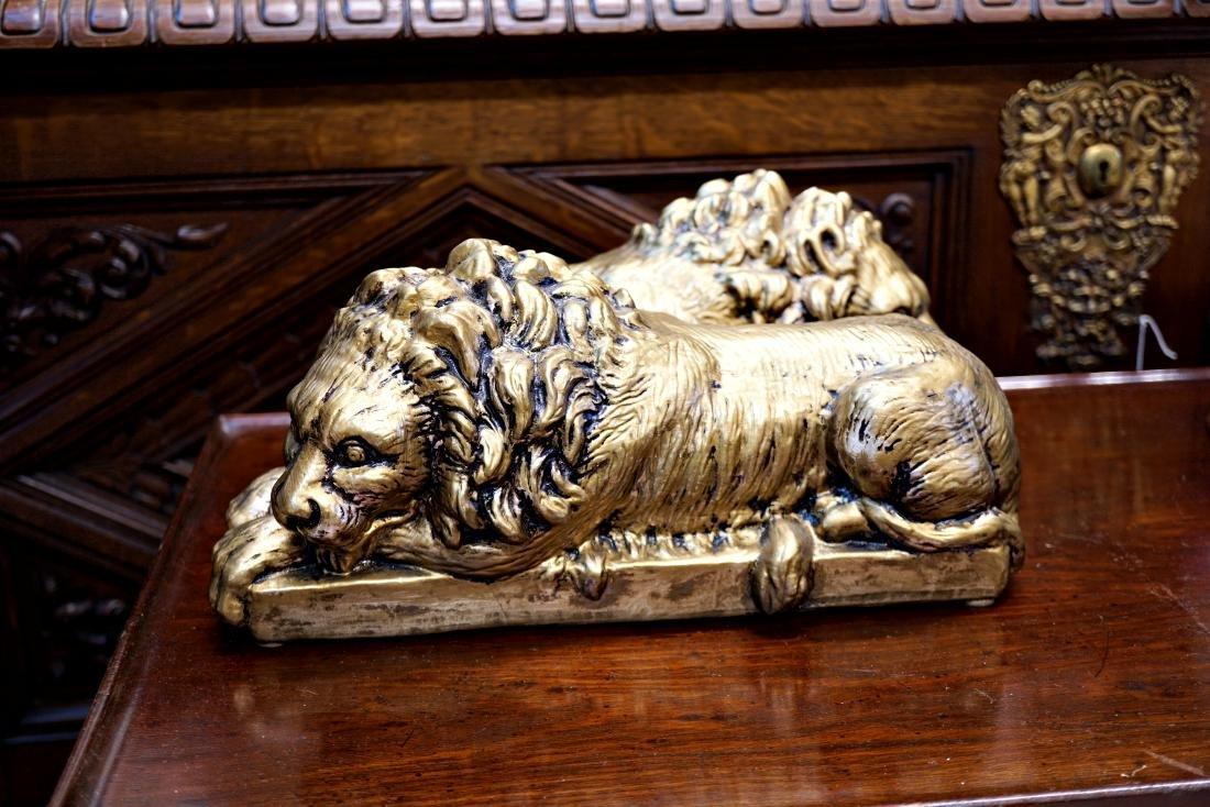 Painted Ceramic Lions - 3