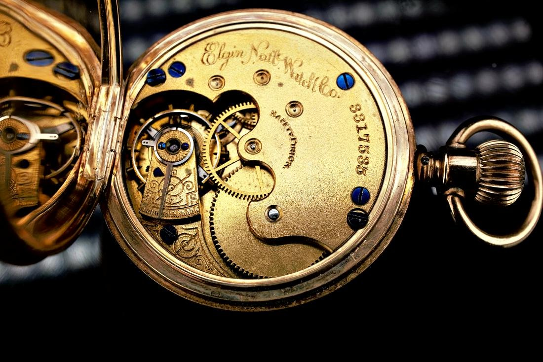 14k Yellow Gold Elgin Pocket Watch - 8