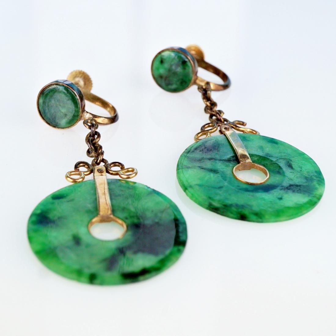 Chinese 14k YG Jade Earrings - 2