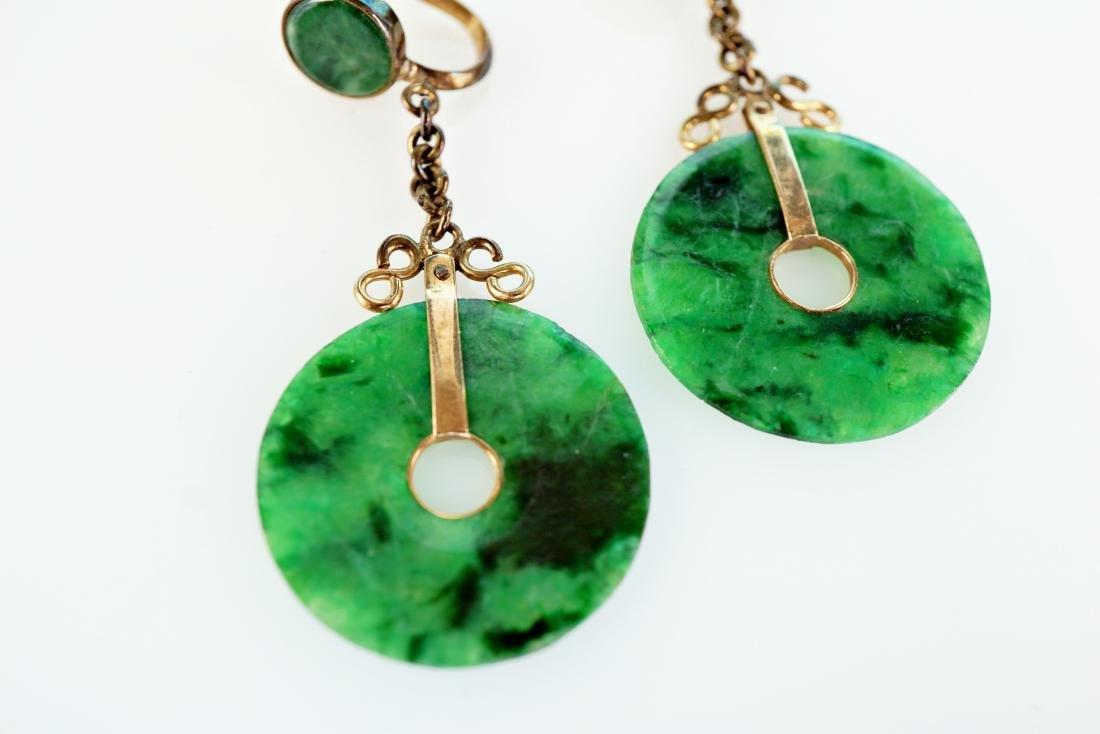 Chinese 14k YG Jade Earrings - 3