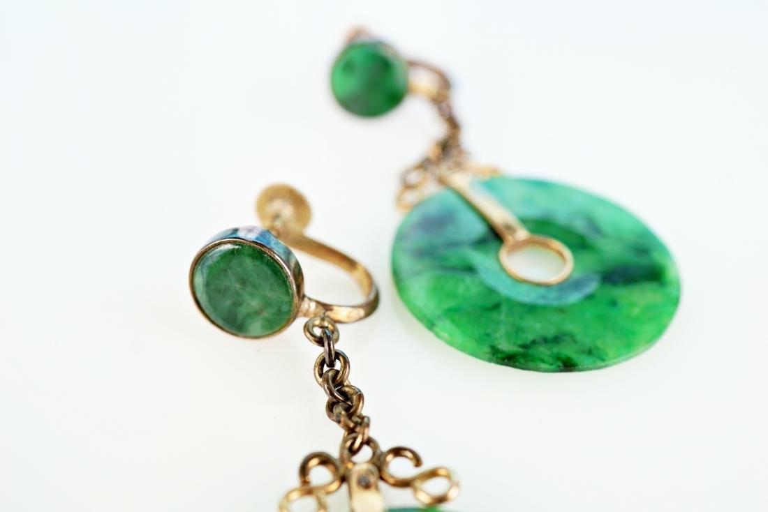 Chinese 14k YG Jade Earrings - 4