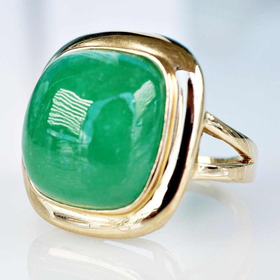 14k YG 6 CT Jade Ring sz5