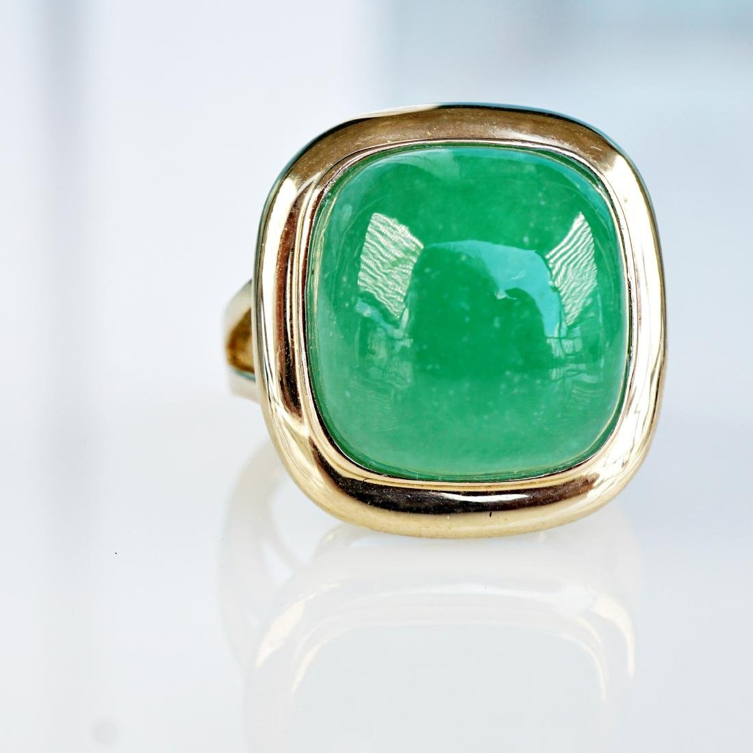 14k YG 6 CT Jade Ring sz5 - 2
