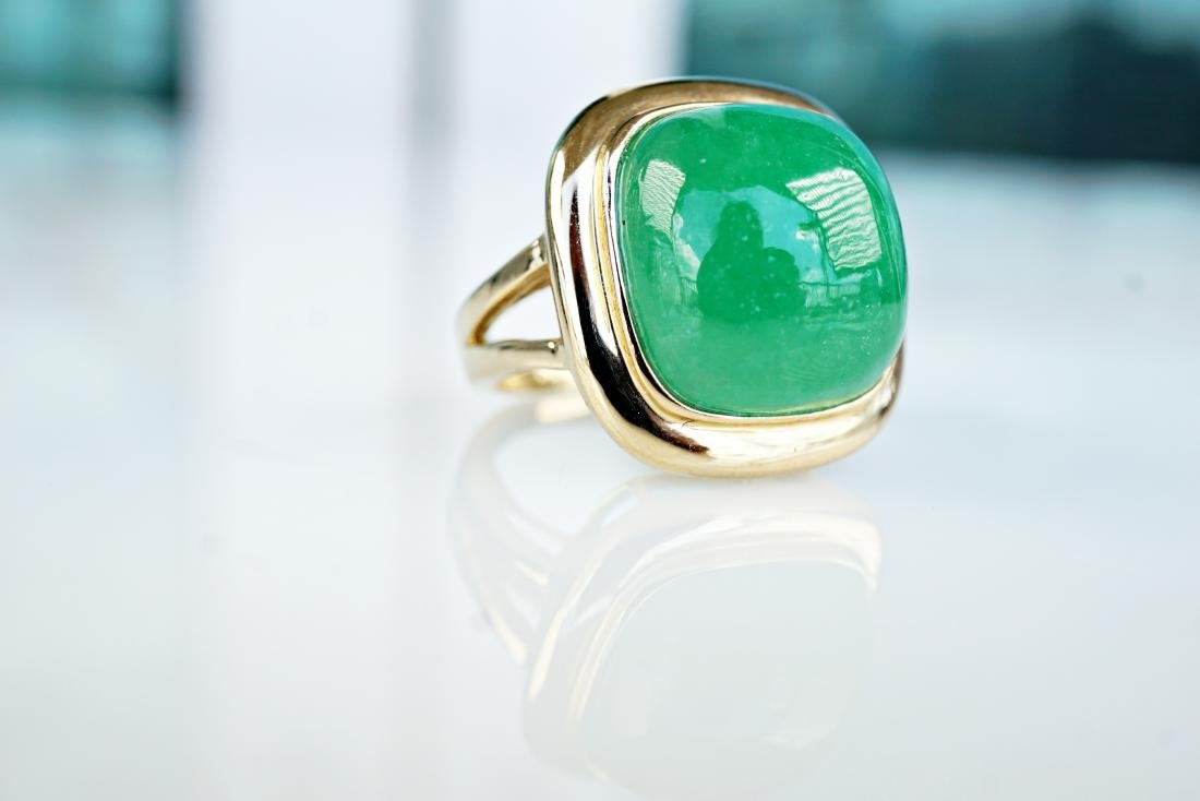 14k YG 6 CT Jade Ring sz5 - 3