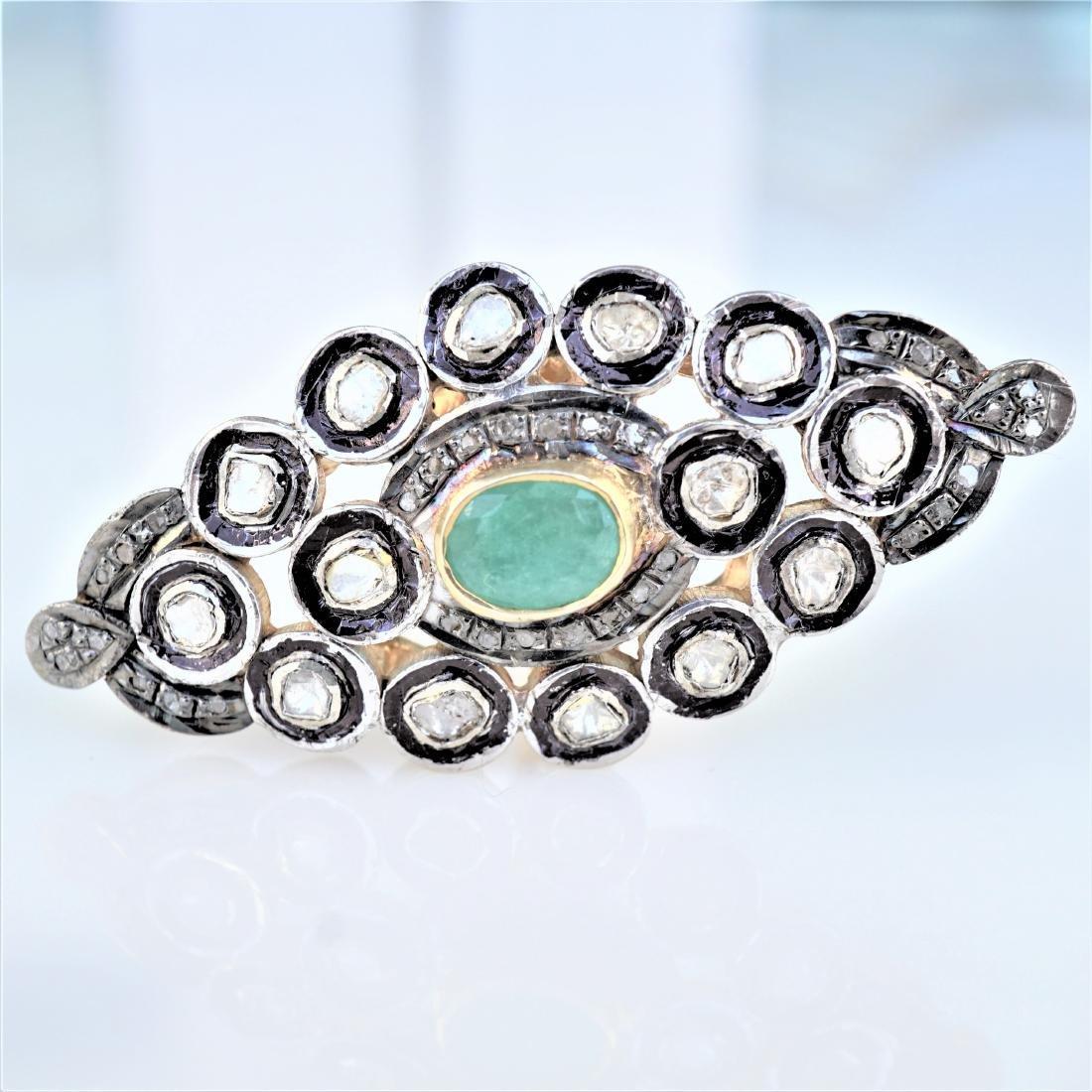 Emerald and Diamond Palace Ring sz 9