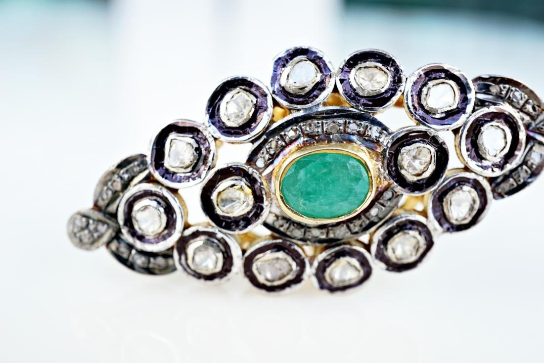 Emerald and Diamond Palace Ring sz 9 - 2