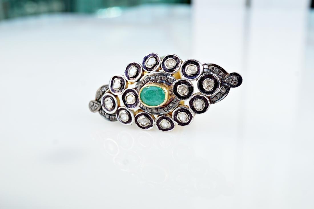 Emerald and Diamond Palace Ring sz 9 - 3