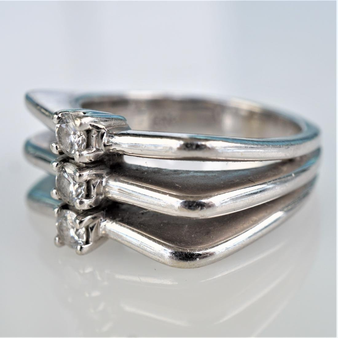 Modernist 14k WG Diamond Ring sz 6.5