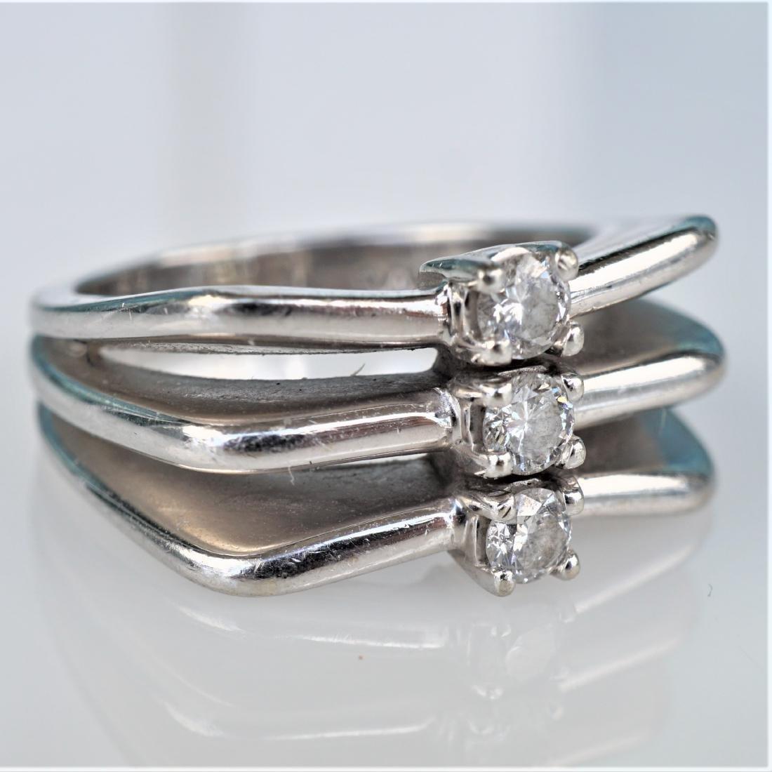 Modernist 14k WG Diamond Ring sz 6.5 - 2