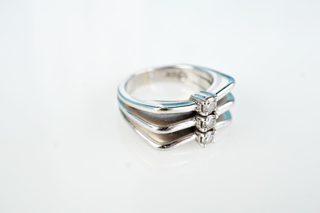 Modernist 14k WG Diamond Ring sz 6.5 - 3