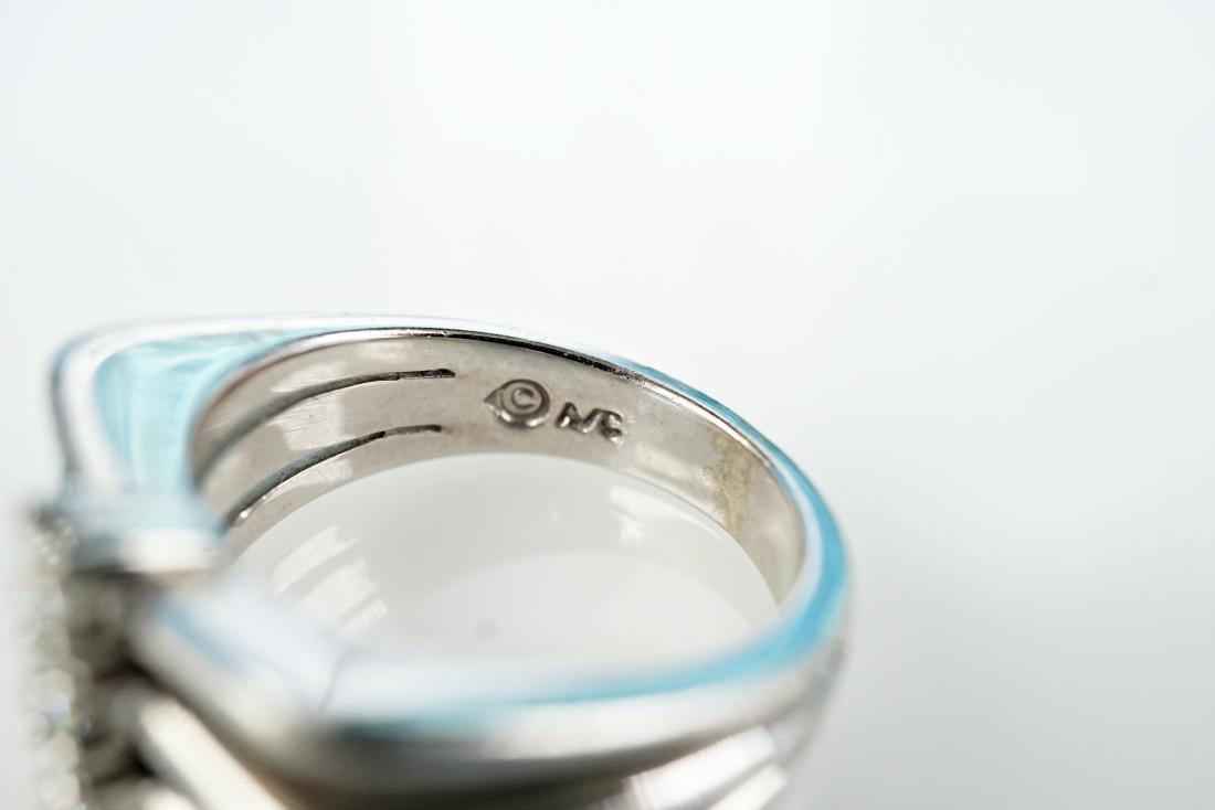 Modernist 14k WG Diamond Ring sz 6.5 - 5