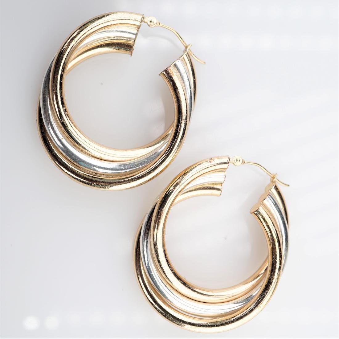 Tri Colored YG WG RG Hoop Earrings
