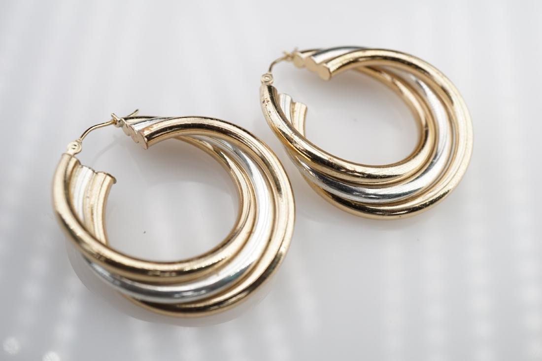 Tri Colored YG WG RG Hoop Earrings - 2