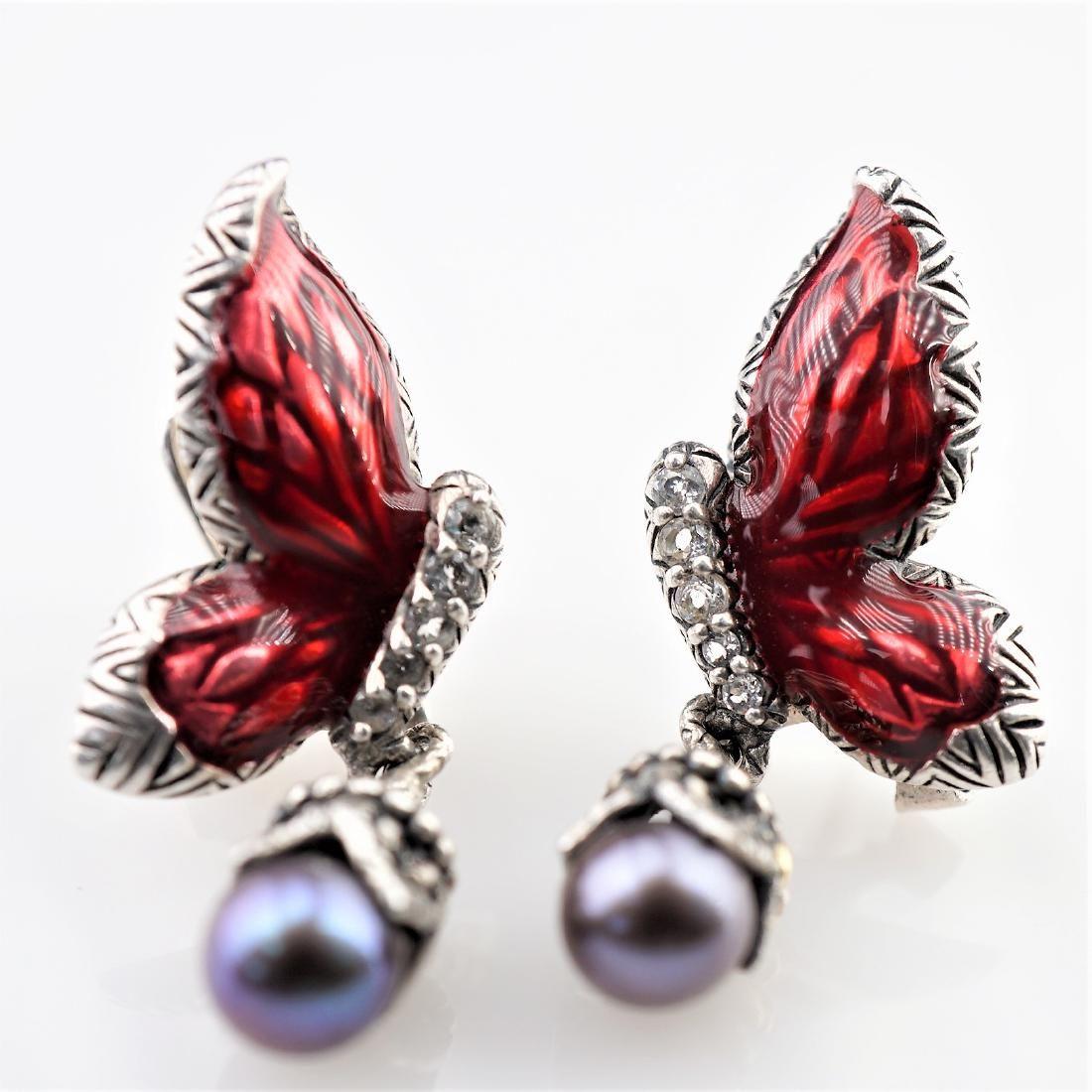 18k YG and 925 Black Pearl Earrings