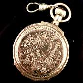 Engraved Elgin 14k YG Pocket Watch