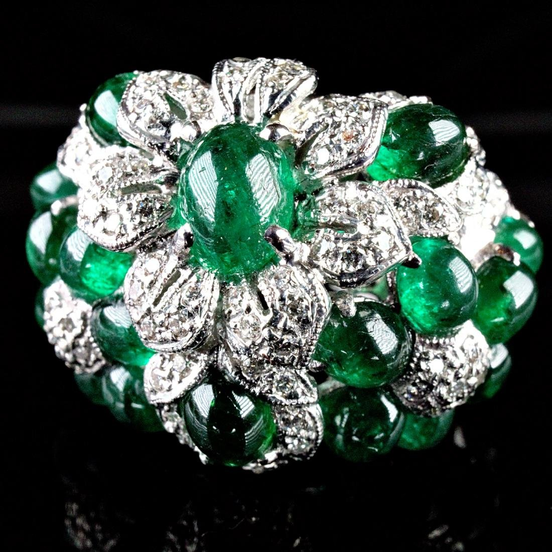 Cabochon Emerald and Diamond Pt Ring Marked Cartier