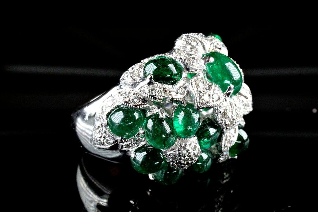 Cabochon Emerald and Diamond Pt Ring Marked Cartier - 2