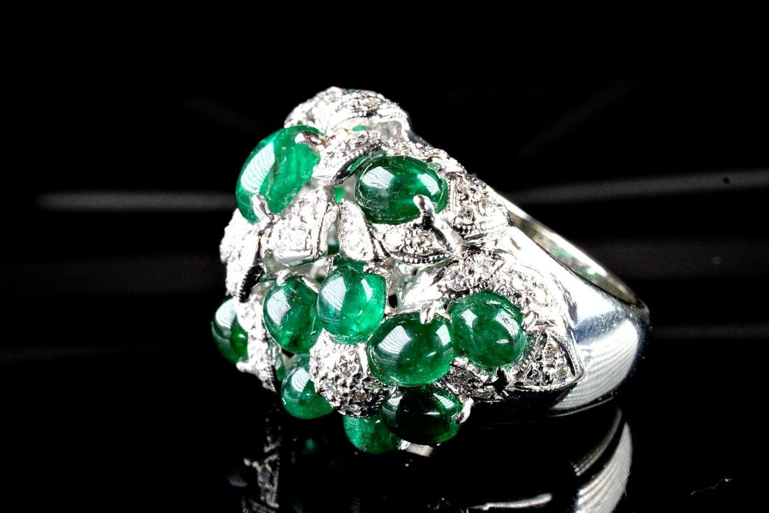 Cabochon Emerald and Diamond Pt Ring Marked Cartier - 3