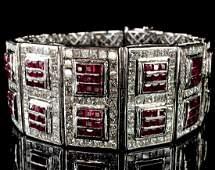 Vintage 18k WG Ruby & Diamond Bracelet