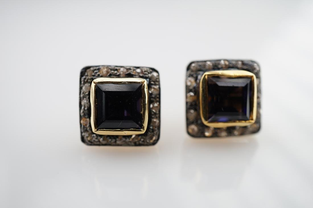 2.50 CTTW Iolite Earrings with Diamonds - 2