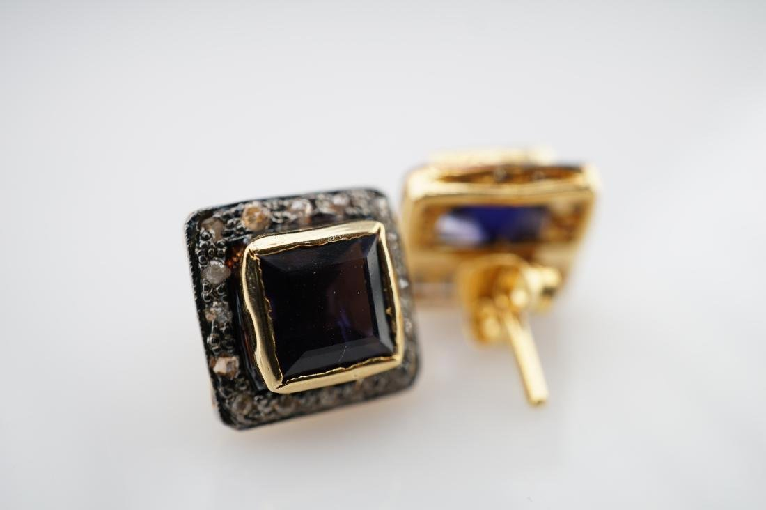 2.50 CTTW Iolite Earrings with Diamonds - 3