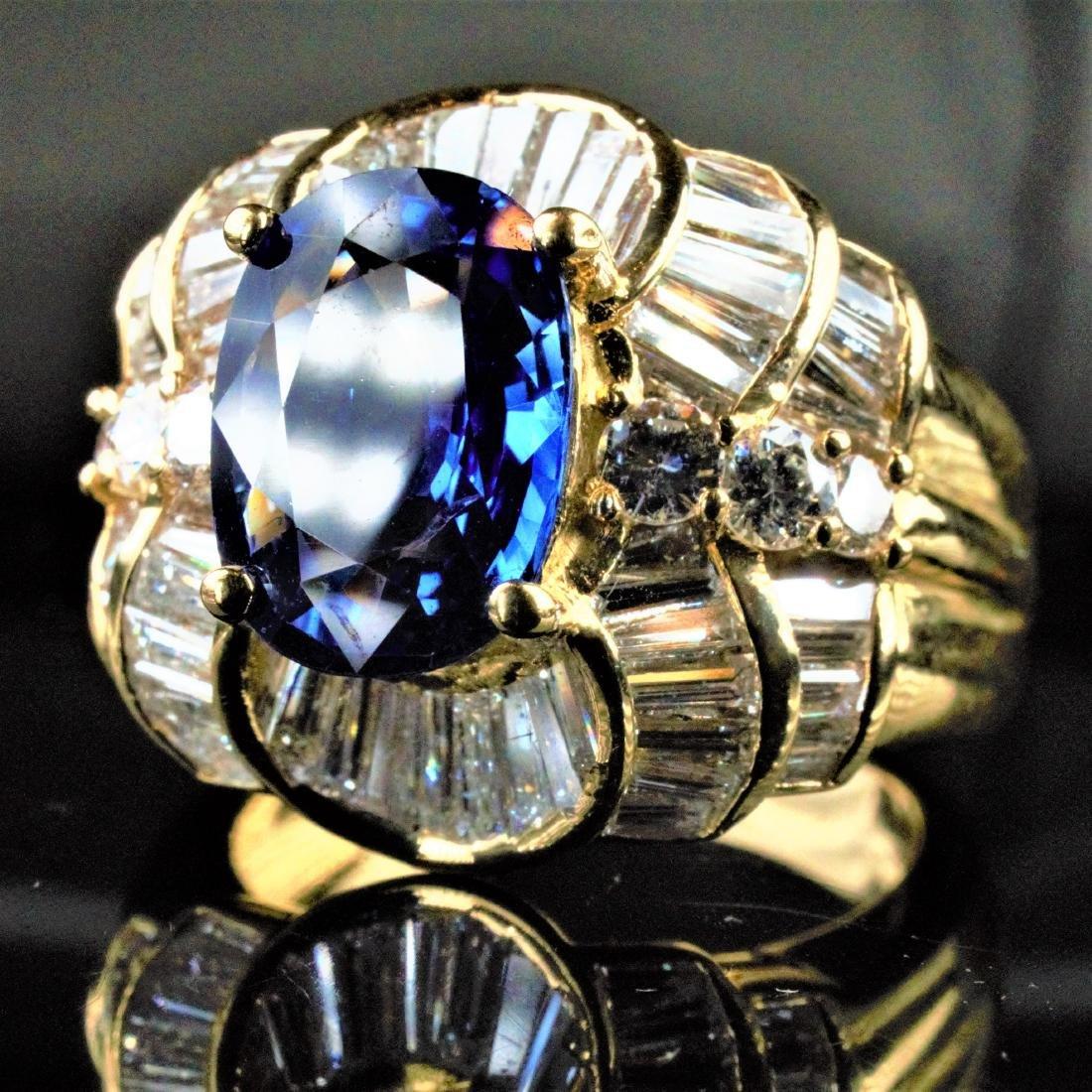 14k YG 2.25 CT Sapphire and Diamond Ring sz7