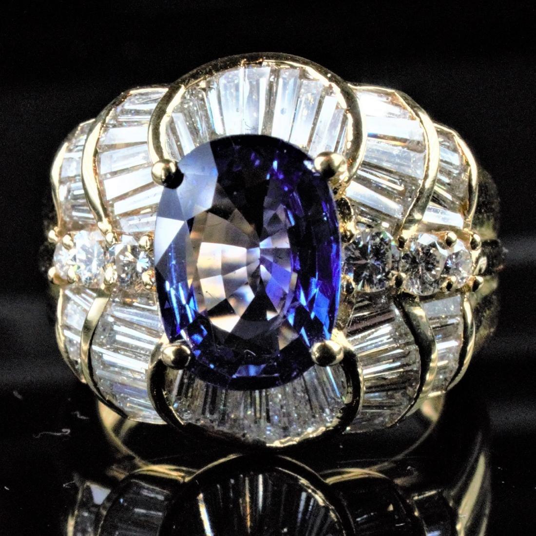 14k YG 2.25 CT Sapphire and Diamond Ring sz7 - 2