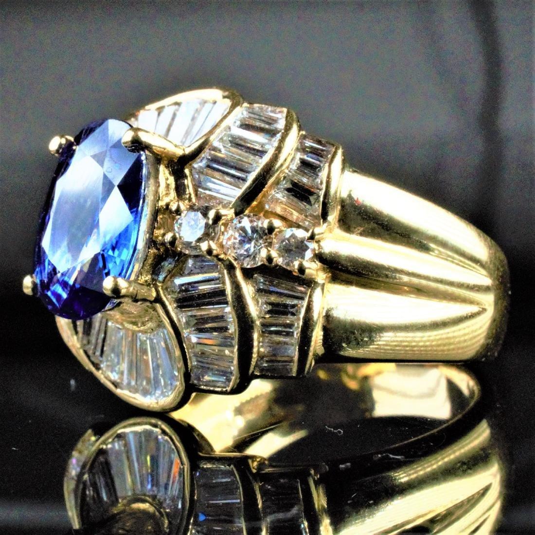 14k YG 2.25 CT Sapphire and Diamond Ring sz7 - 3