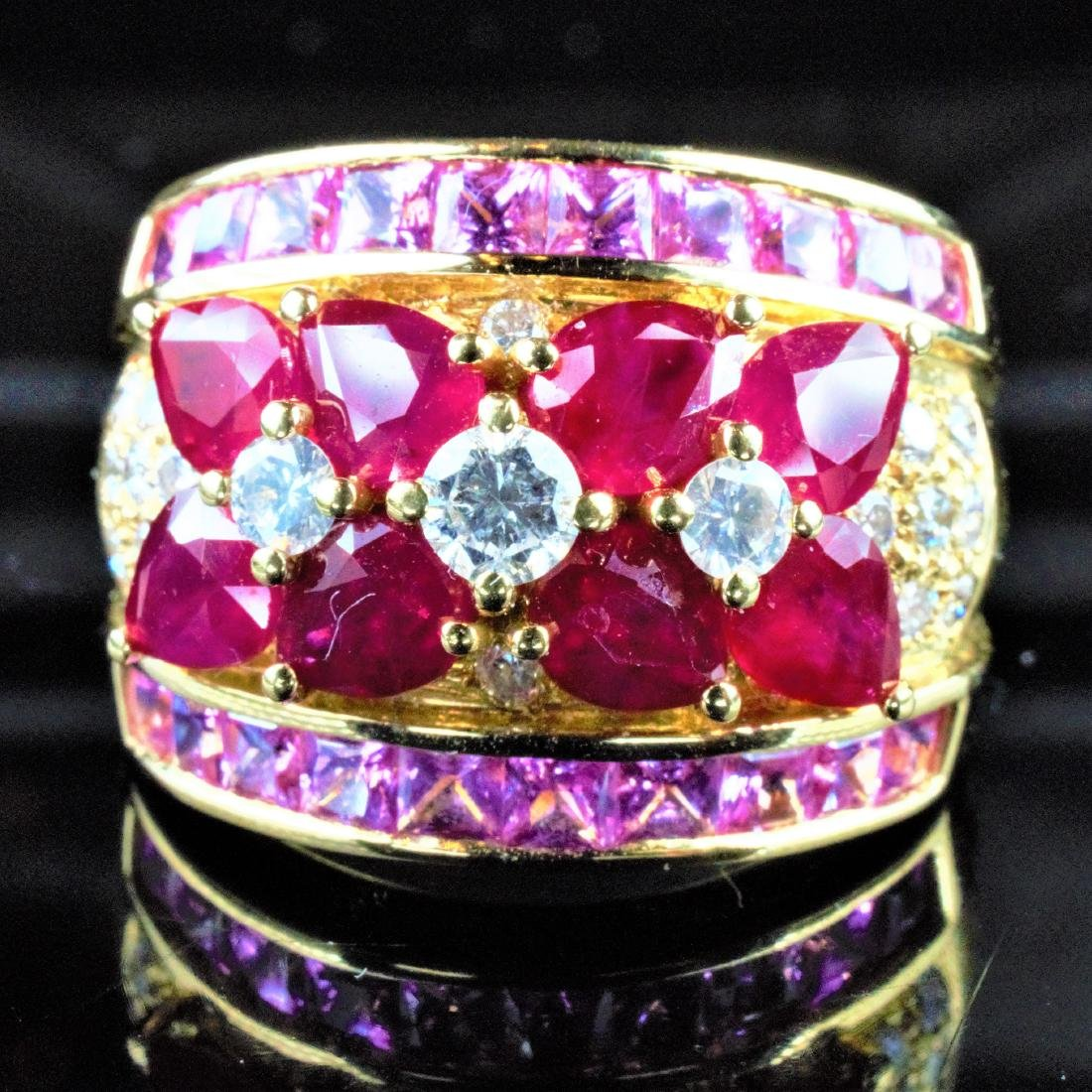 14k YG Ruby, Sapphire and Diamond Ring sz 6.75