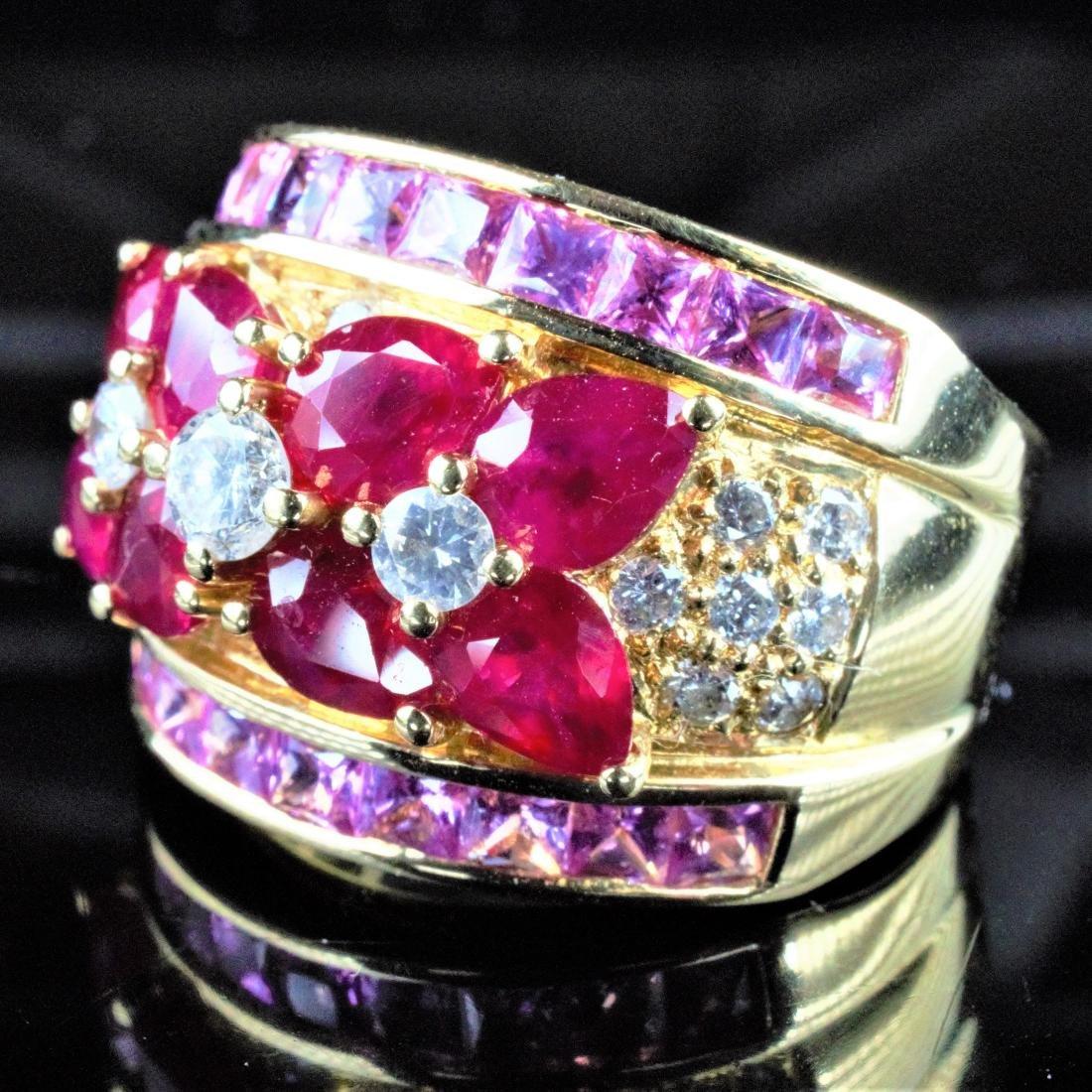14k YG Ruby, Sapphire and Diamond Ring sz 6.75 - 2