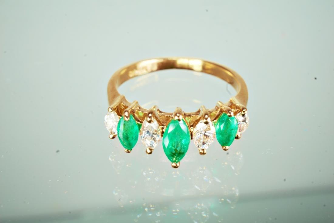 14k YG Emerald and Diamond Ring sz 5.5