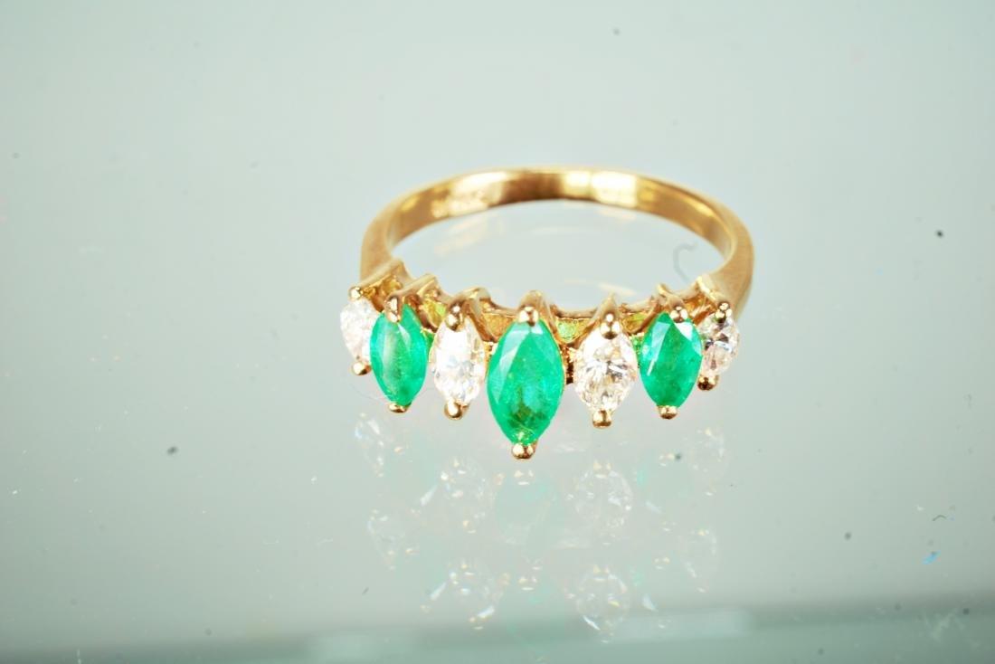 14k YG Emerald and Diamond Ring sz 5.5 - 2