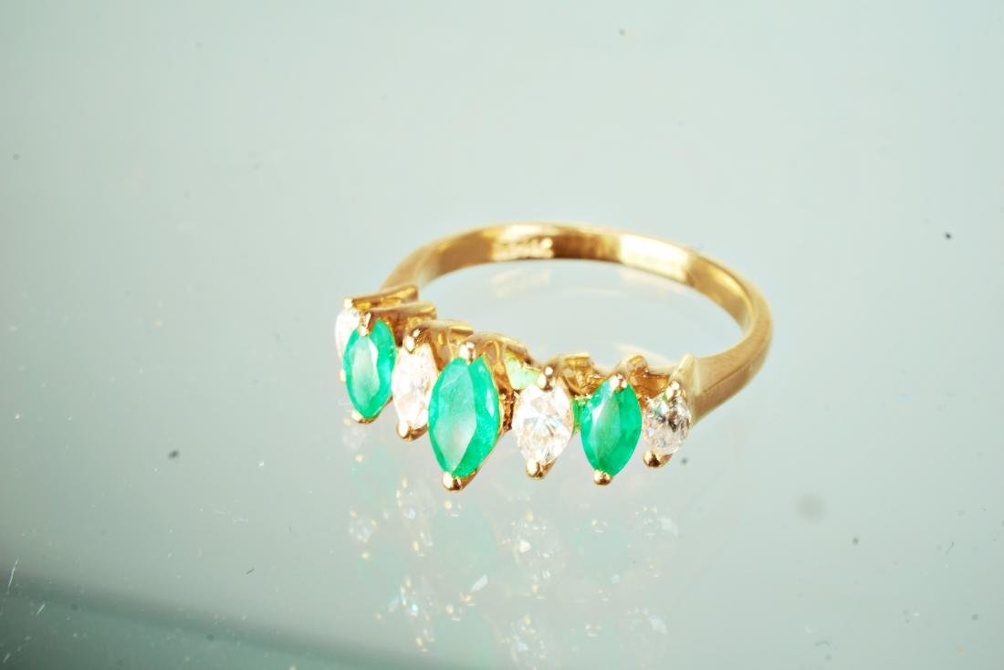 14k YG Emerald and Diamond Ring sz 5.5 - 3