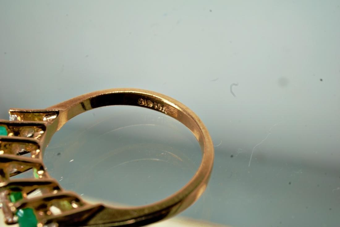 14k YG Emerald and Diamond Ring sz 5.5 - 4